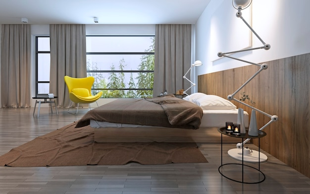 Dormitorio de estilo moderno. luces incluidas, clima brumoso afuera. grandes ventanales panorámicos de suelo a techo. render 3d