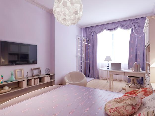 Dormitorio funcional de diseño art nouveau.