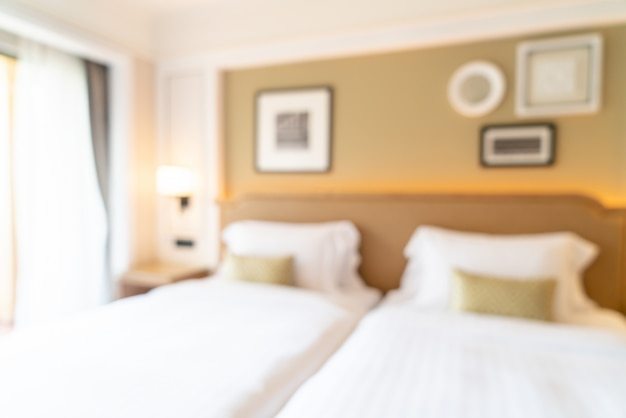 Dormitorio de hotel borroso abstracto para el fondo
