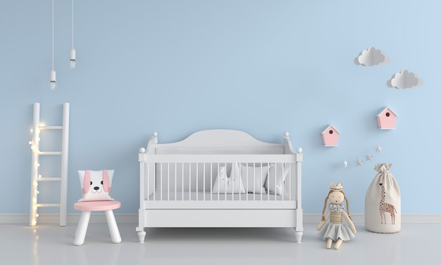 Dormitorio infantil azul con espacio de copia