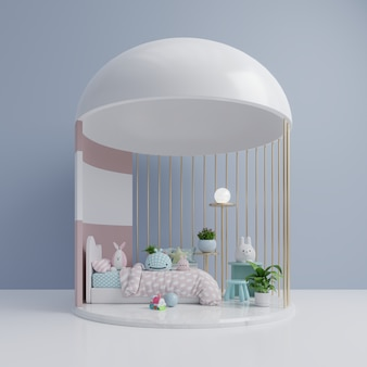 Un dormitorio infantil vacío con muñeca de juguete.