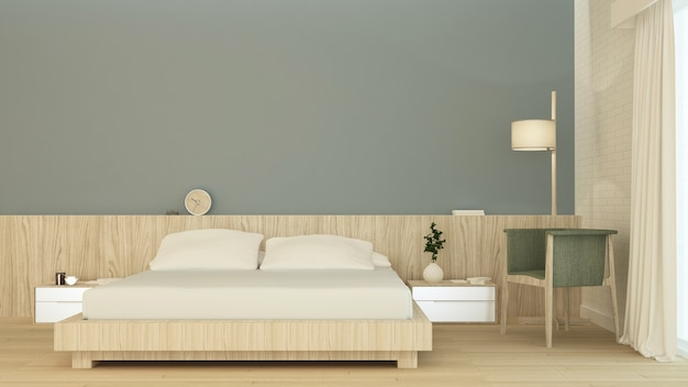 Dormitorio interior espacio muebles renderizado 3d y fondo decoración de la pared