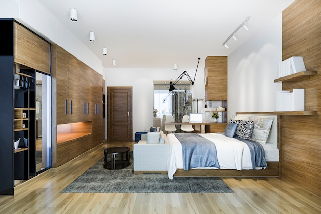 Dormitorio loft de lujo con mesa de trabajo y armario.