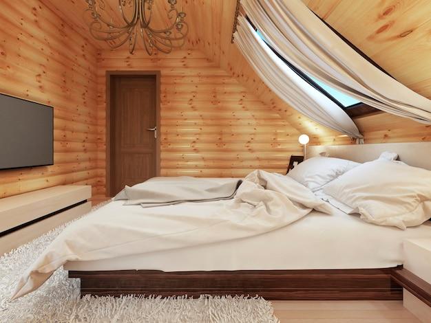 Dormitorio de lujo en estilo moderno, con una ventana de techo en la casa de troncos