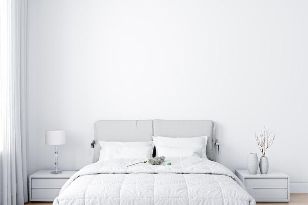 Dormitorio de maqueta de pared en blanco
