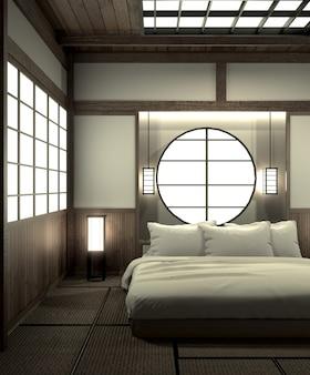 Dormitorio moderno diseño interior zen con decoración estilo japonés.