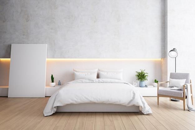 Dormitorio y moderno estilo loft, concepto acogedor y minimalista.