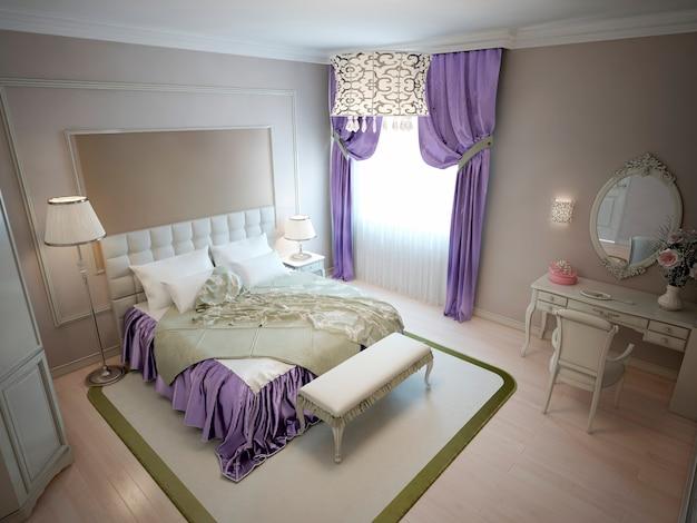 Dormitorio moderno en estilo neoclásico