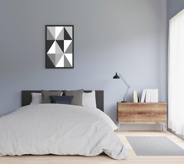 Dormitorio moderno con marco para copia espacio y maqueta.
