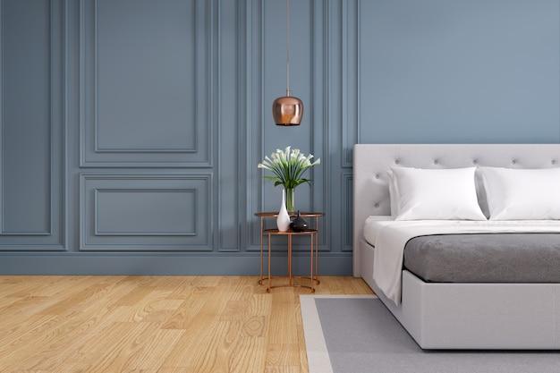 Dormitorio moderno y vintage, acogedor concepto de habitación gris