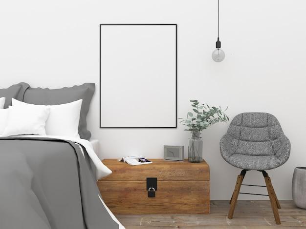 Dormitorio nórdico - mockup del arte de la pared