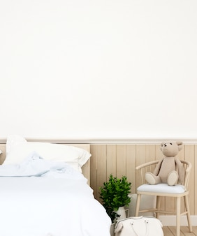 Dormitorio o habitación para niños en casa o apartamento, renderizado 3d