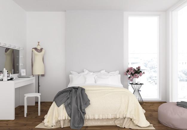 Dormitorio con pared en blanco