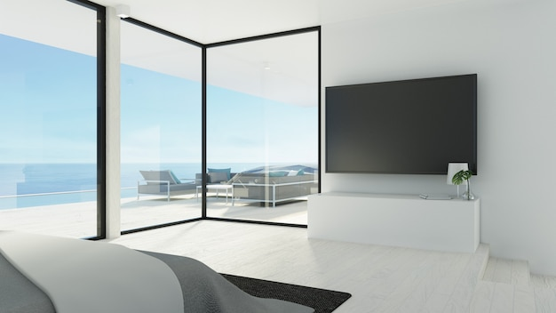 Dormitorio de playa y pared de tv / representación 3d