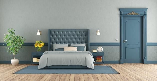 Dormitorio principal azul en estilo retro