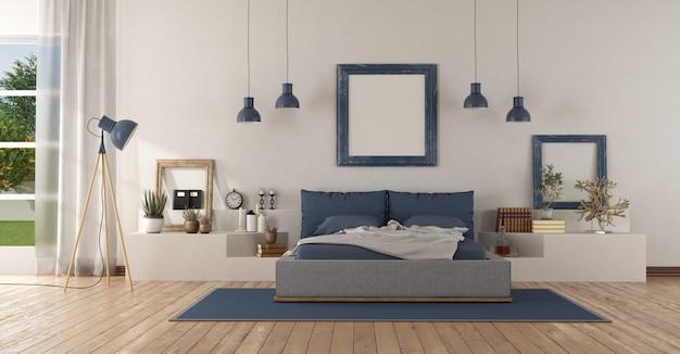 Dormitorio principal blanco y azul moderno
