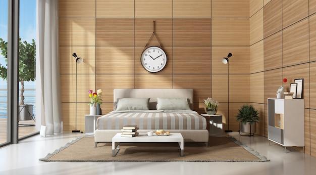 Dormitorio principal moderno con paneles de madera.