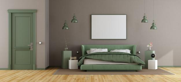 Dormitorio principal verde y marrón