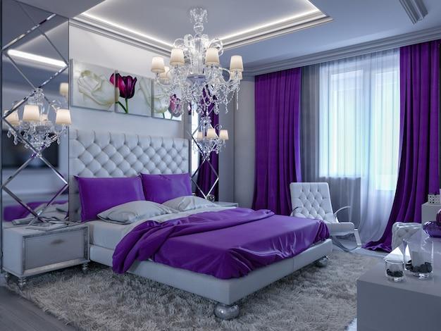 Dormitorio de renderizado 3d en tonos grises y blancos con detalles en púrpura