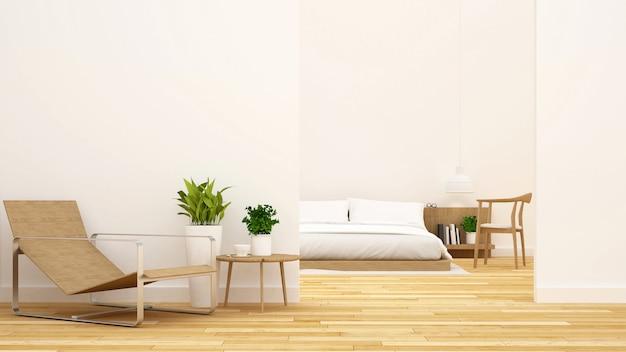 Dormitorio y sala de estar limpio diseño-3d rendering