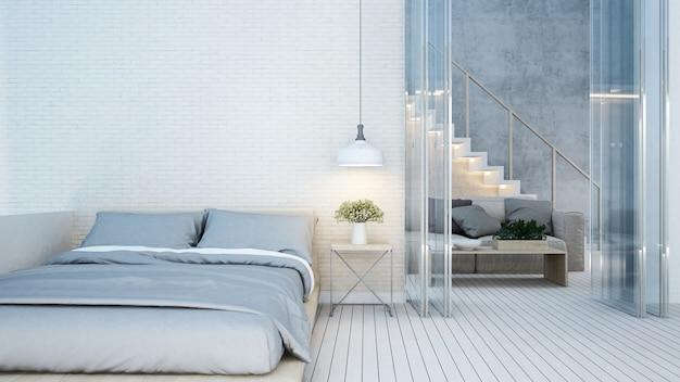 Dormitorio y sala de estar en tono blanco en casa o apartamento.