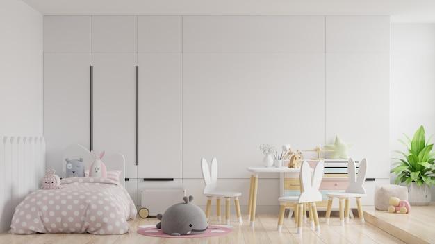 Dormitorio simulacro de pared en la habitación de los niños en pared blanca