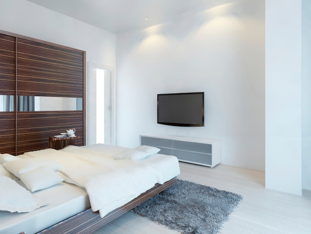 Dormitorio con tv y consola multimedia con un gran armario corredizo con espejos. mobiliario de zebrano. render 3d.
