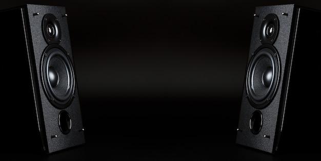 Dos altavoces de audio con espacio libre entre ellos.