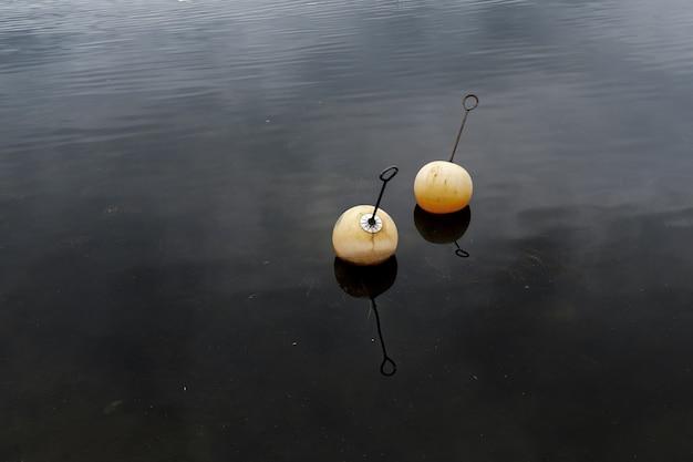 Dos aparejos de pesca en el agua