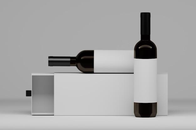 Dos botellas de vid con etiquetas blancas y caja de regalo de embalaje en blanco. ilustración 3d.