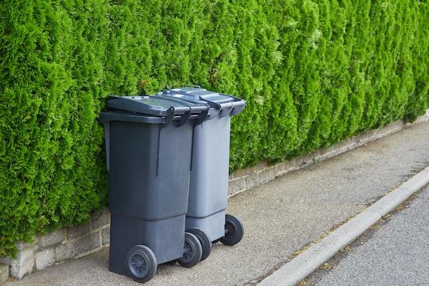Dos botes de basura de plástico de pie sobre el asfalto limpio sobre un fondo de arbustos verdes de una tuya en un día soleado. el concepto de reciclaje de basura, limpieza de la ciudad.