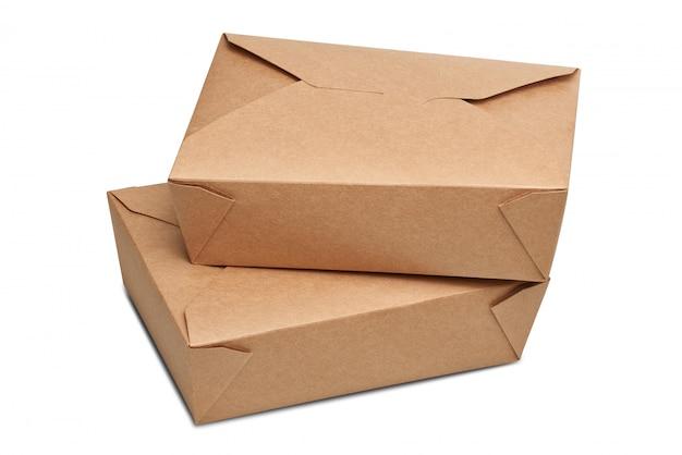 Dos cajas de cartón de entrega en blanco para alimentos listos para comer