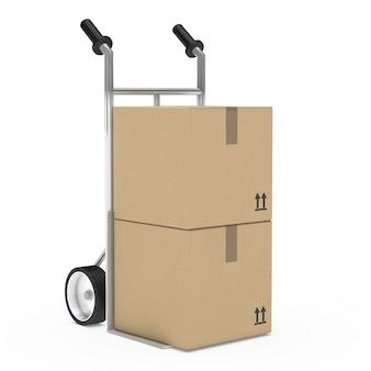 Dos cajas de cartón sobre una carretilla