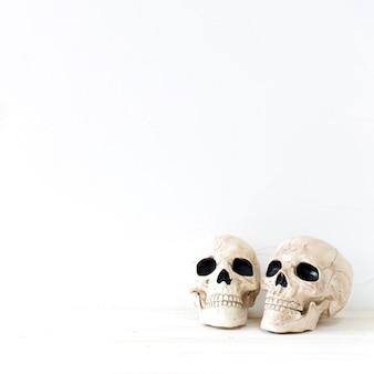 Dos calaveras para la celebración de halloween