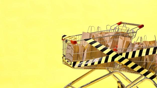 Dos carros de la compra están llenos de bolsas de papel envueltas con cinta amarilla y negra. concepto de viernes negro