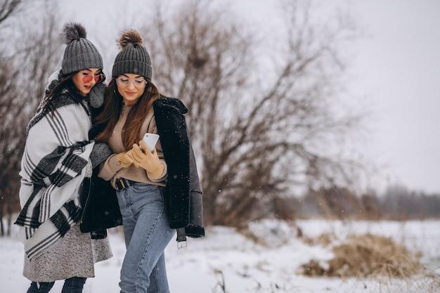 Dos chicas caminando juntas en un parque de invierno y haciendo selfie