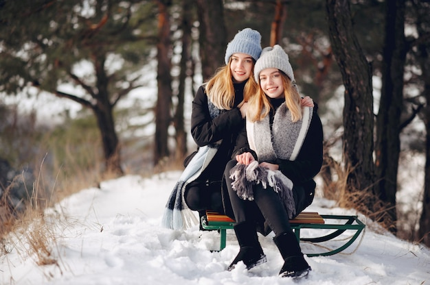 Dos chicas lindas en un parque de invierno