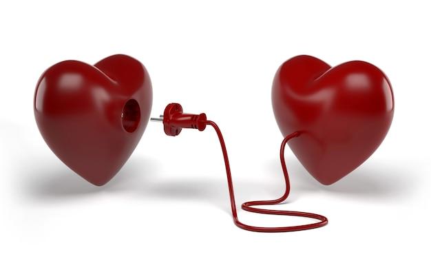 Dos corazones con línea eléctrica con enchufe alrededor