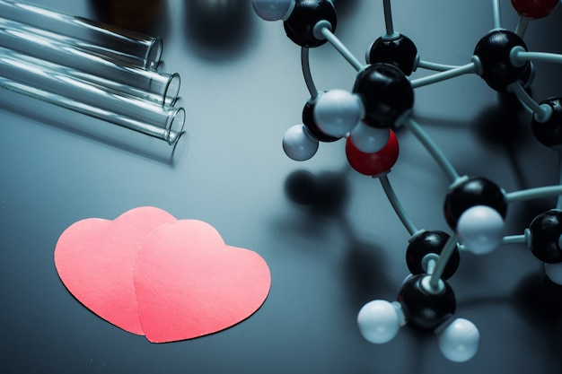 Dos corazones de papel rojo y modelo de estructura molecular sobre un fondo negro.