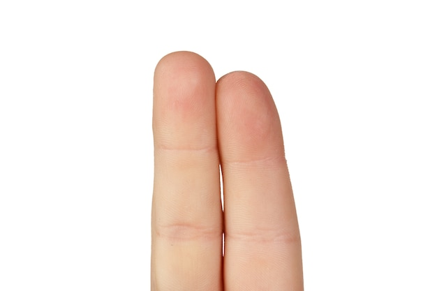 Dos dedos juntos aislados sobre fondo blanco