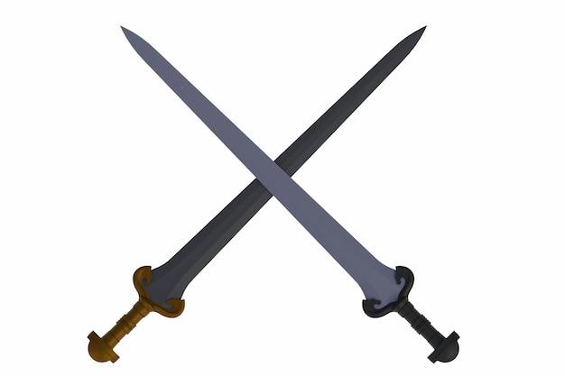 Dos espadas cruzadas, aisladas sobre fondo blanco, representación 3d
