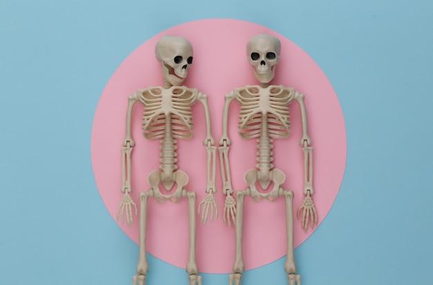 Dos esqueletos falsos en rosa pastel azul. decoración de halloween, tema de miedo