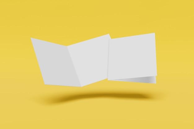 Dos folletos cuadrados aislados sobre fondo amarillo