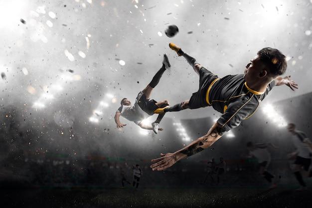 Dos futbolistas en ataque