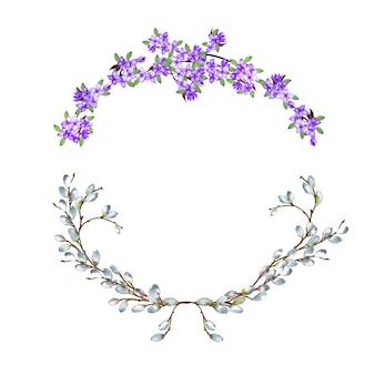 Dos guirnaldas de semicírculo de sauce realista y ramas de color lila en tierno marco. ilustración acuarela