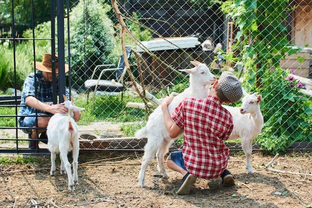 Dos hermanos en el corral con las cabras en la granja