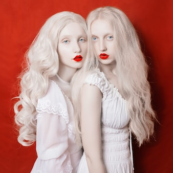 Dos hermosas chicas rubias con cabello largo y blanco con vestidos blancos sobre un fondo de grúa