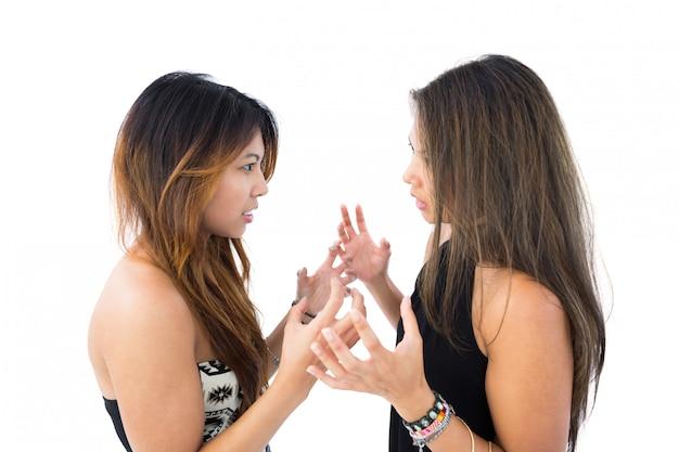 Dos hermosas hermanas discutiendo