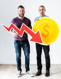 Dos hombres casuales con icono de negocios