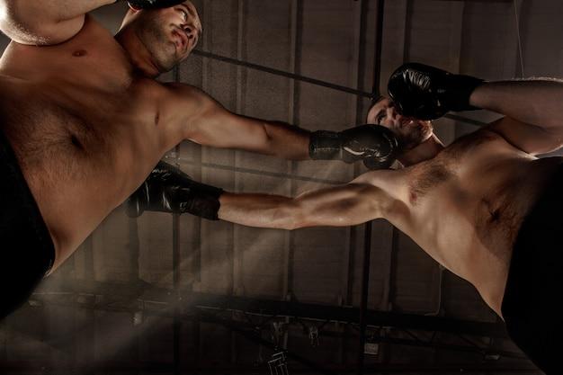 Dos hombres musculosos peleando, culturistas golpeándose, entrenando en artes marciales, boxeo, jiu jitsu